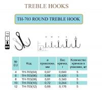 Крючок тройной ROUND TREBLE HOOK 5 шт блистер