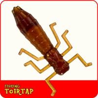"""Личинка стрекозы 1,4""""  цвет коричневый с блесткой 03"""